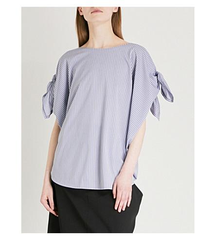 LIMI FEU Tie-sleeve striped cotton-blend top (Purple