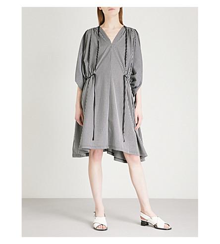 LIMI FEU Gathered striped cotton-blend dress (Black