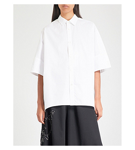 YS Asymmetric longline cotton-poplin shirt (White
