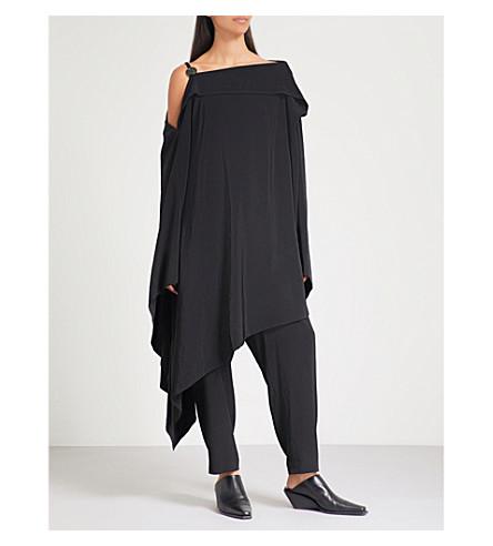 YS Asymmetric longline crepe top (Black