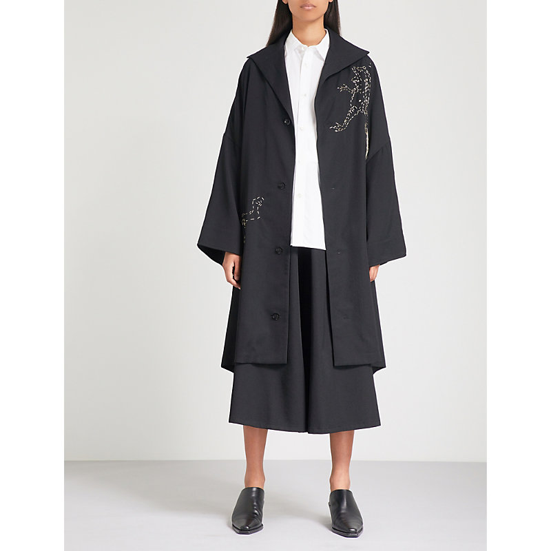 Frog-embroidered wool coat