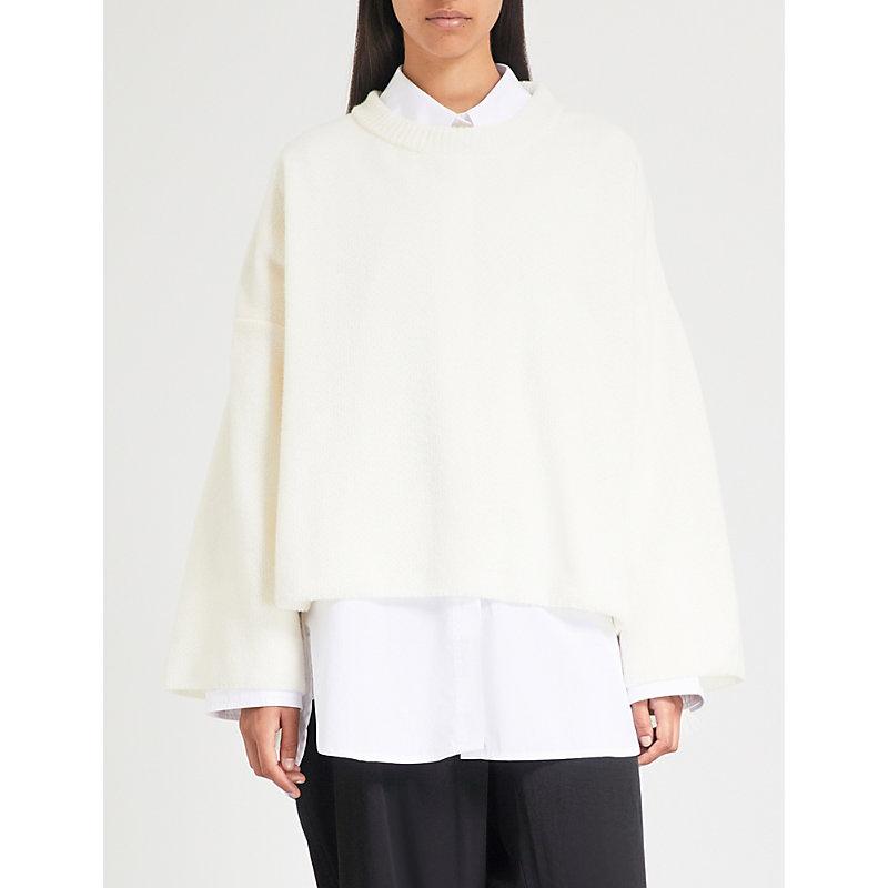 Frayed wool-blend sweater