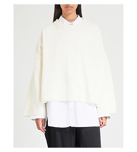 y 磨损羊毛混纺毛衣 (白色