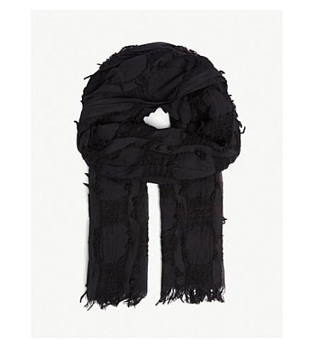 棉和羊毛混纺围巾 (黑色