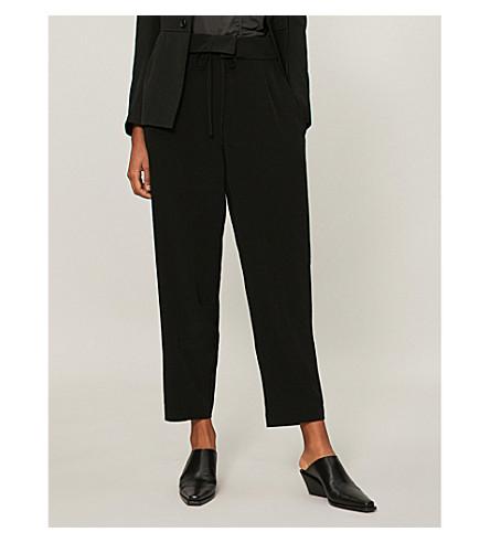 纸袋腰休闲版型绉裤子 (黑色