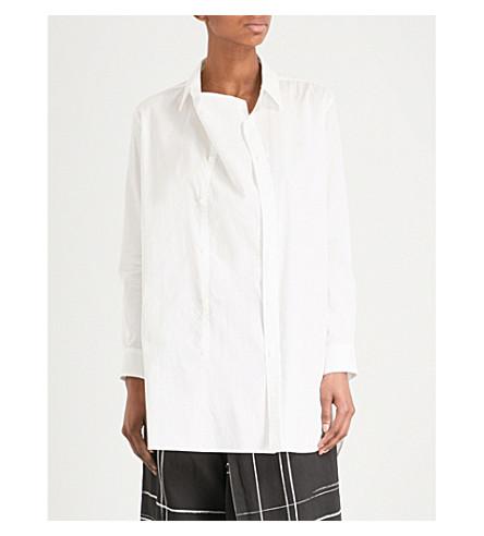 YS Double-placket draped cotton shirt (White