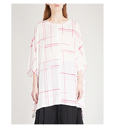 YS Checked voile top (White
