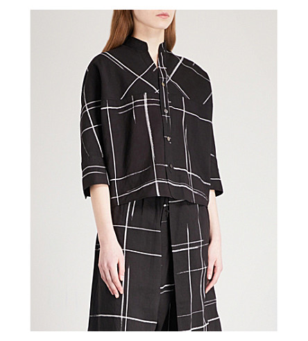 YS Checked voile top (Black