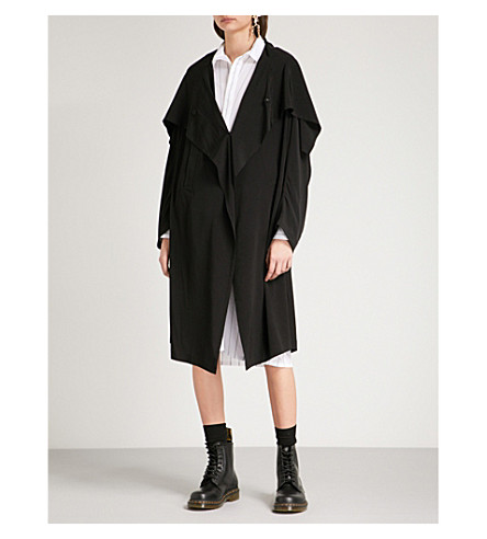 YS Draped-panel crepe jacket (Black