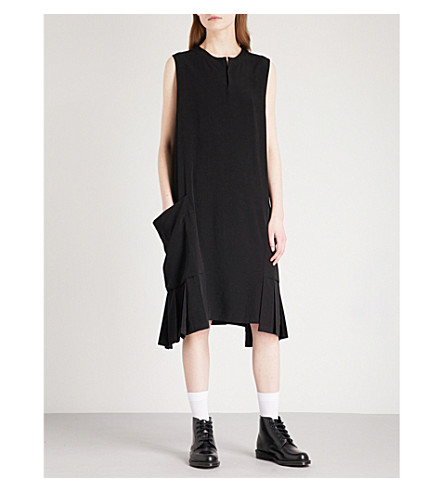 YS Pleated-detail satin dress (Black