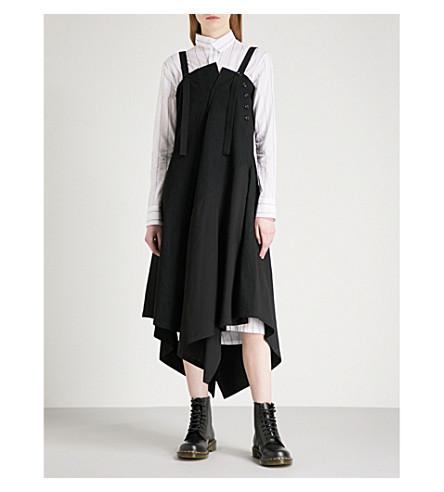 YS Asymmetric draped cotton midi dress (Black
