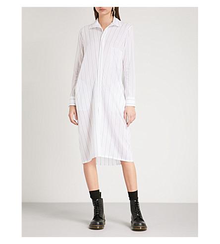 条纹衬衫连衣裙 (白色