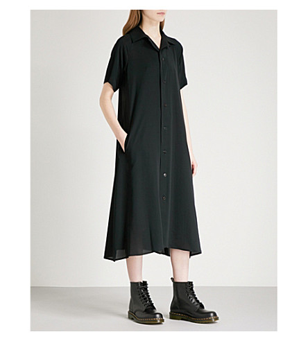 YS Open collar chiffon midi shirt dress (Black
