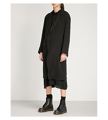 YS Chiffon-lapel tailored-fit cotton jacket (Black