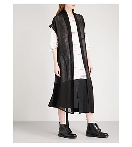 YS Collarless linen-blend jacket (Black