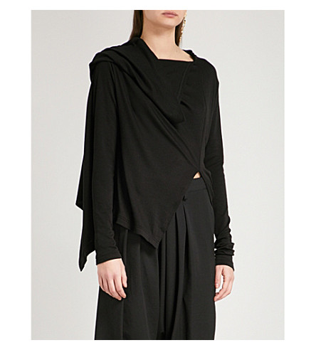 YS Asymmetric-neck knitted top (Black