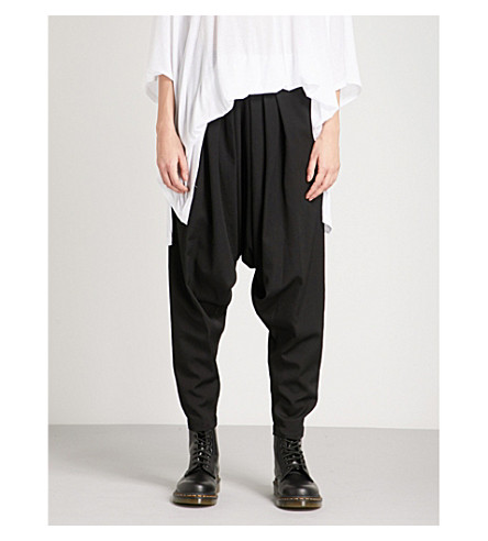 YS Pleated dropped-crotch wool trousers (Black