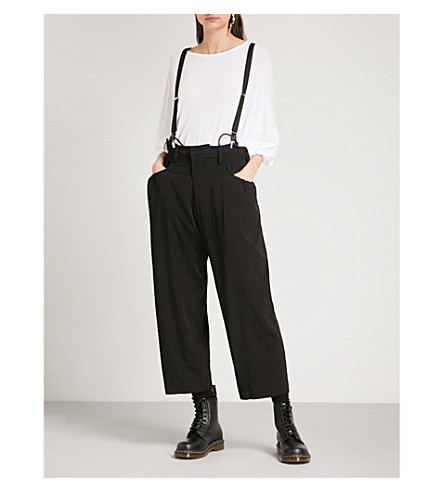 YS Suspender-strap relaxed-fit woven trousers (Black