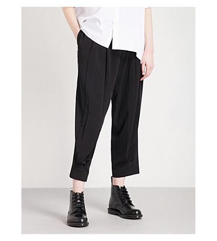 YS Pleated loose-fit shell trousers (Black