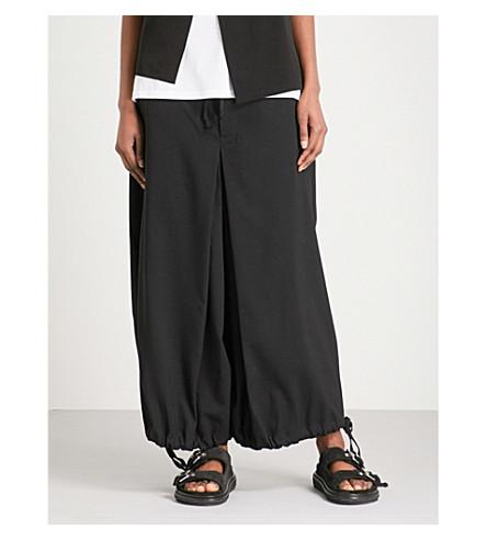 YS Cropped wide-leg wool-blend trousers (Black