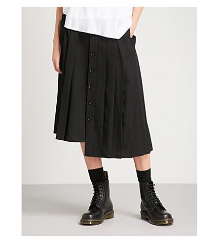 YS Pleated asymmetric wool skirt (Black