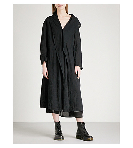 YS Oversized asymmetric cotton cardigan (Black