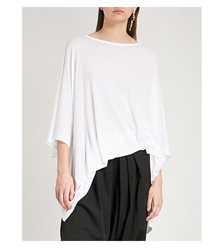 YS Asymmetric-hem jersey top (White