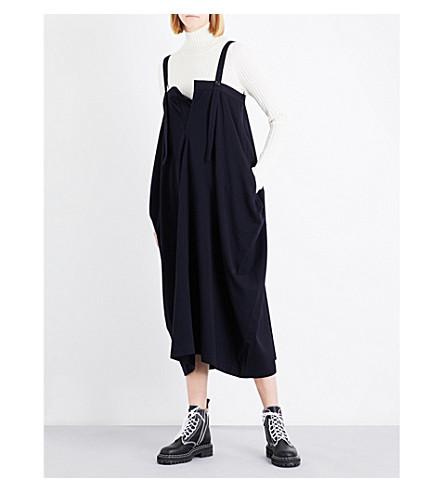 YS Asymmetric wool-blend dress (Navy