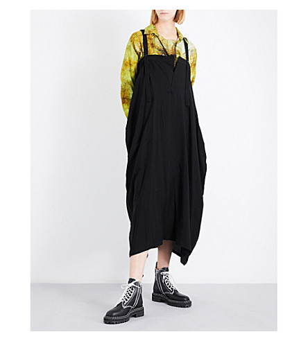YS Asymmetric woven dress (Black