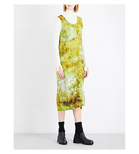YS Grained-print wool dress (Yellow