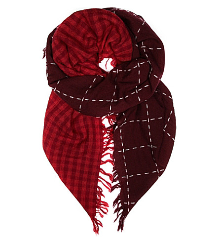 YS Wool two pieces check scarf (Bordeaux