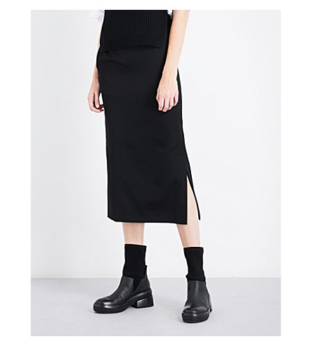 YS Belted high-rise wool-twill skirt (Black