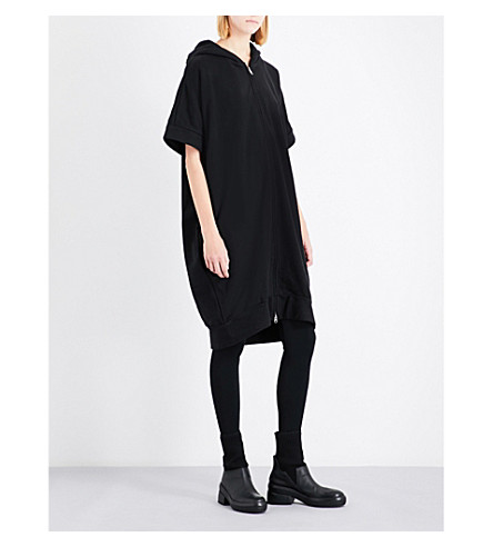 YS Batwing-sleeve oversized cotton-jersey hoody (Black