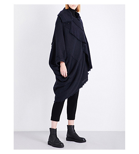 YS Asymmetric knitted cape (Navy