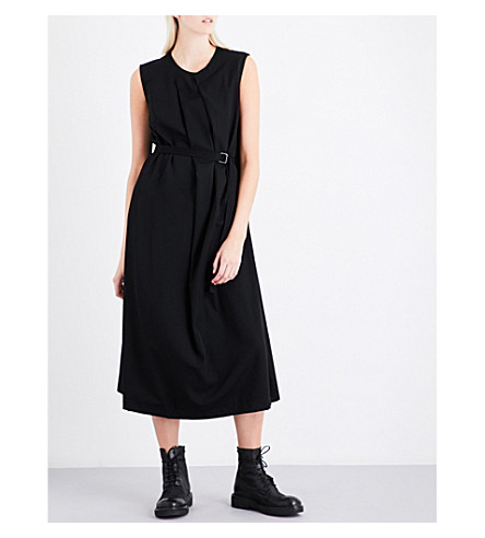 YS Draped wool dress (Black