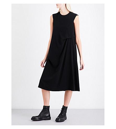 YS Draped-detail woven dress (Black