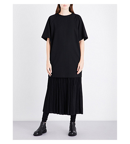 YS Pleated-panel relaxed-fit wool-blend dress (Black