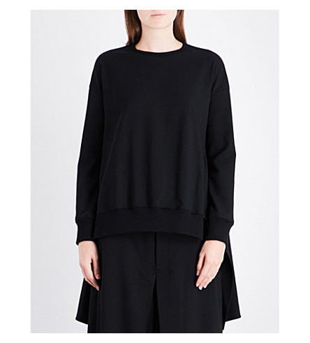 YS Stepped-hem relaxed-fit wool-blend sweatshirt (Black
