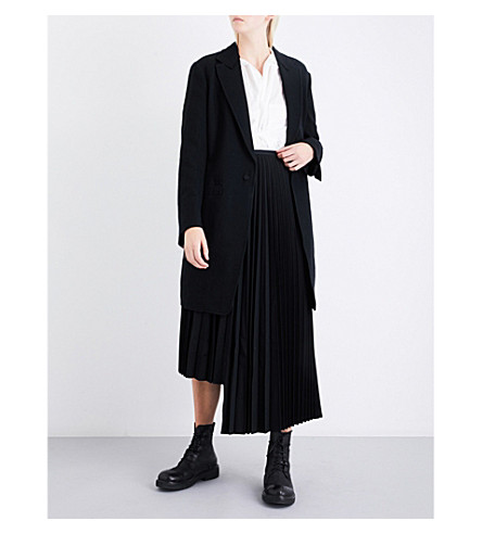 YS Notch-lapel wool coat (Black