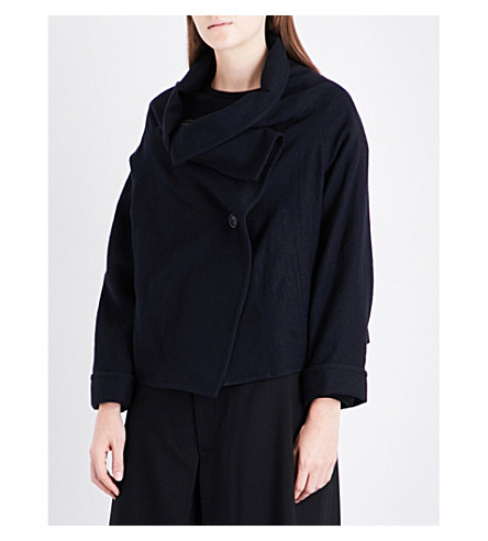 YS Asymmetric-collar wool jacket (Navy