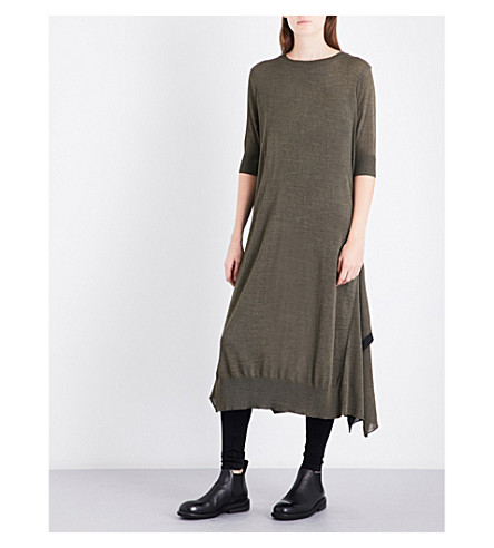 YS Flared-him loose-fit knitted dress (Khaki