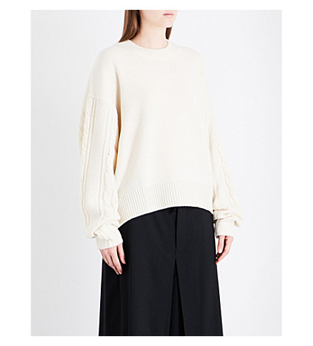 YS Cable-knit relaxed-fit wool-blend jumper (White