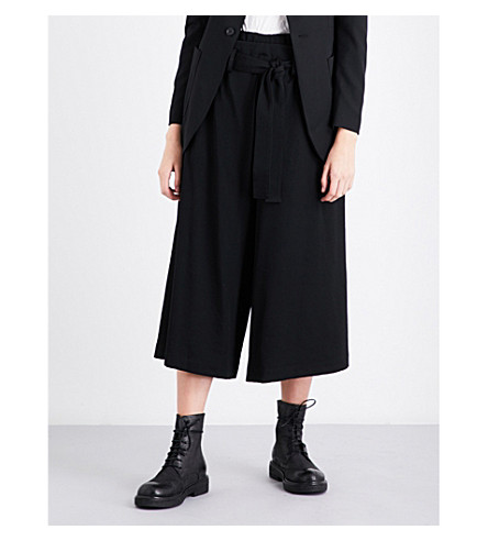 YS Wide-leg cropped wool trousers (Black