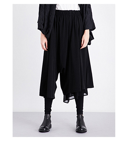 YS Pleated dropped-crotch wide high-rise crepe trousers (Black