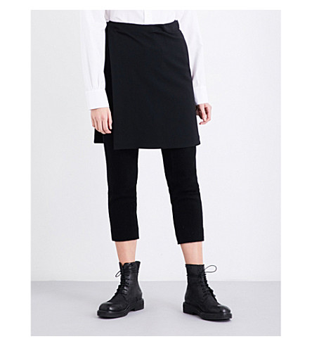 YS Overskirt-detail wool-blend trousers (Black