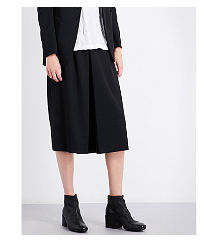 YS Wide cropped high-rise wool trousers (Black