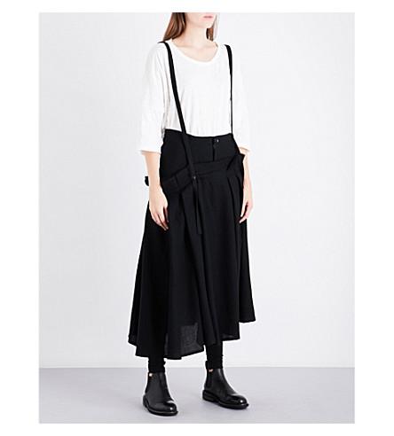YS Suspender-strap high-rise wool skirt (Black