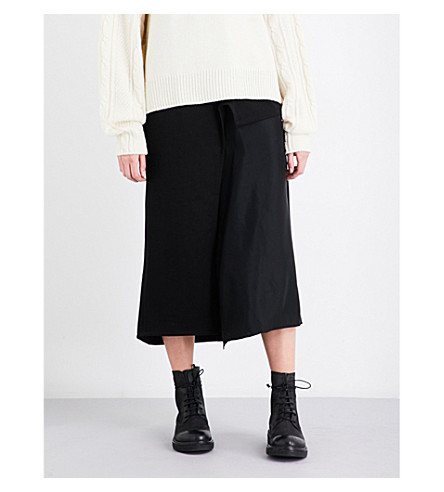 YS Flared-panel denim skirt (Black