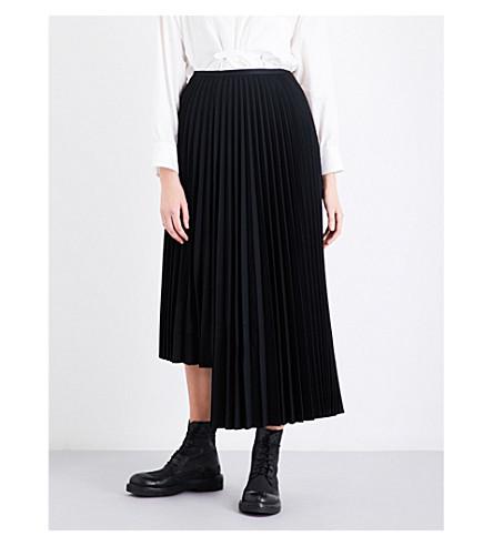 YS Pleated asymmetric wool-blend skirt (Black