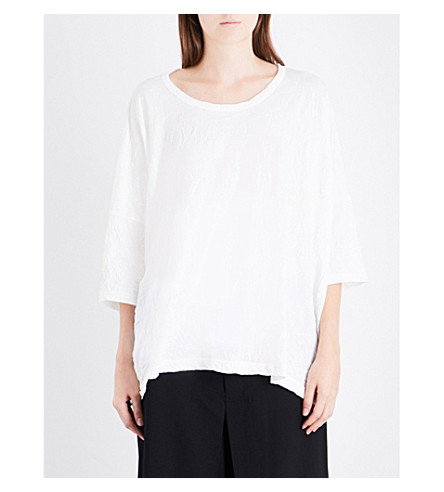YS Wrinkled relaxed-fit cotton-blend T-shirt (Off+white